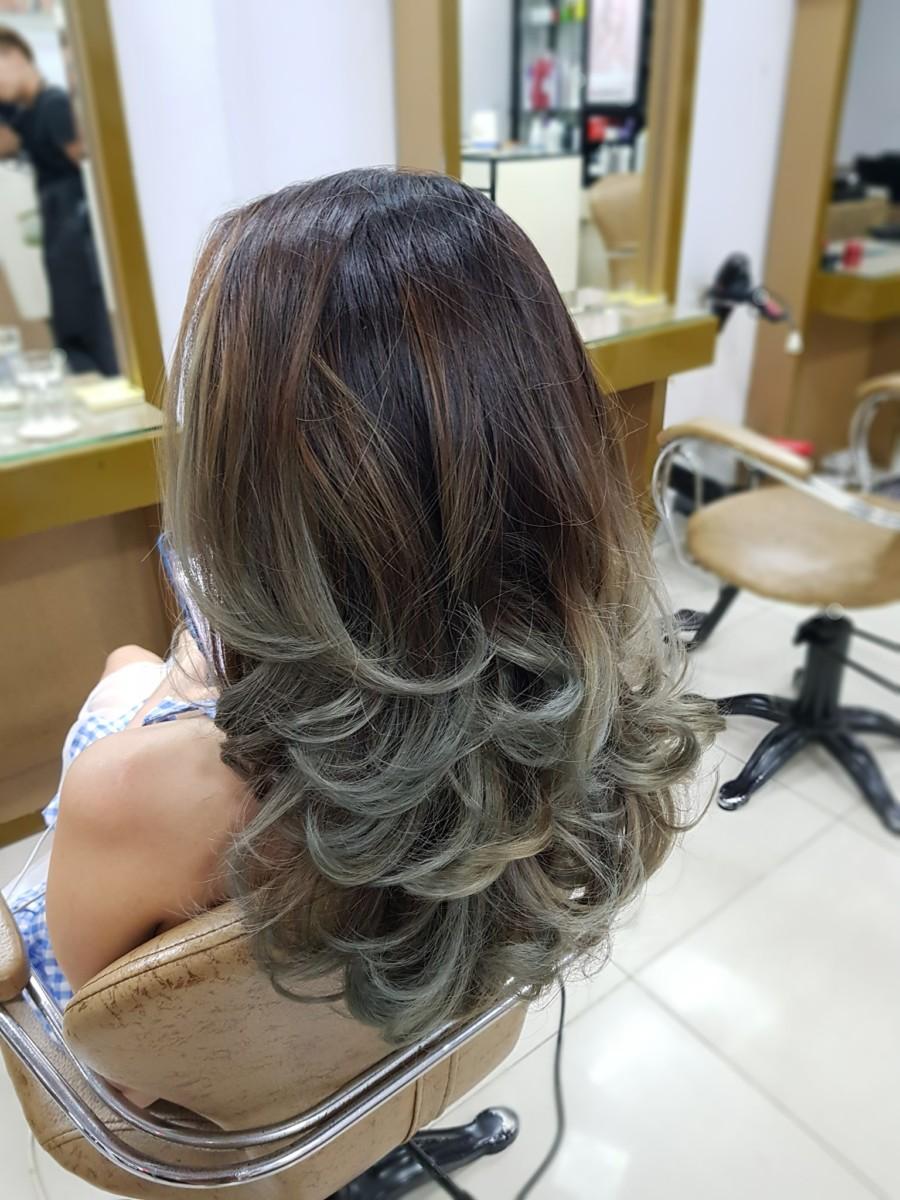 kiểu tóc ombre được tỉa layer